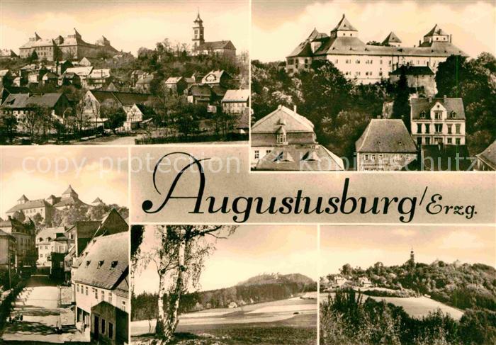 Augustusburg Ortsansicht mit Schloss Kirche Strassenpartie Poehlberg Kat. Augustusburg
