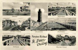 St Peter Ording Leuchtturm Strand Seebruecke  Kat. Sankt Peter Ording