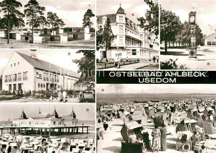 Ahlbeck Ostseebad FDGB Erholungsheim Haus der Erholung Seebruecke FDGB Erholungsheim Bernhard Goering Konzertplatz Strand Kat. Heringsdorf Insel Usedom