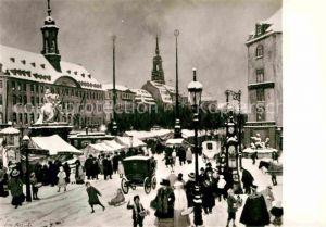 Dresden Museum Geschichte Striezelmarkt Neustaedter Markt oelgemaelde Otto Fritzsche Winter Kat. Dresden Elbe