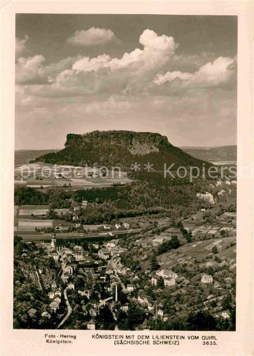 Koenigstein Saechsische Schweiz mit dem Lilienstein Tafelberg Elbsandsteingebirge Kat. Koenigstein Saechsische Schweiz
