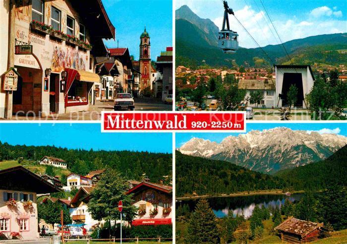 Mittenwald Bayern Ortsansicht Cafe Konditorei Fassadenmalerei Kirche Karwendelbahn Im Gries Ferchensee Karwendelgebirge Kat. Mittenwald