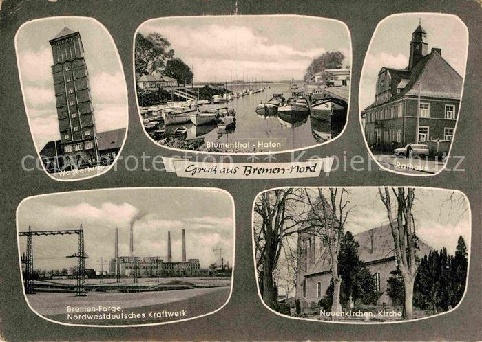 Bremen Wasserturm Blumenthal Hafen Rathaus Kraftwerk Kirche Kat. Bremen