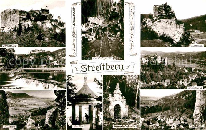 Streitberg Oberfranken Streitburg Kristallgrotte Neideck Talblick Muschelquelle Pavillon Wasserfall Fraenkische Schweiz Kat. Wiesenttal