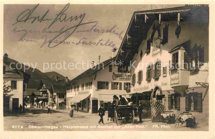 Oberammergau Hauptstrasse mit Gasthof zur Alten Post Kat. Oberammergau