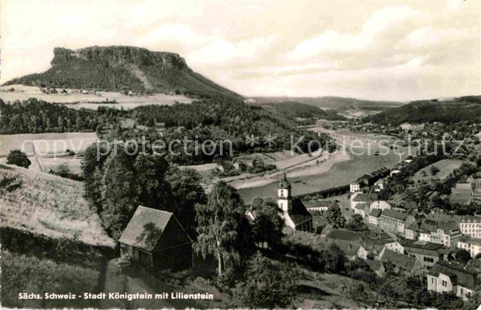 Koenigstein Saechsische Schweiz Panorama Elbtal mit Lilienstein Tafelberg Elbsandsteingebirge Kat. Koenigstein Saechsische Schweiz