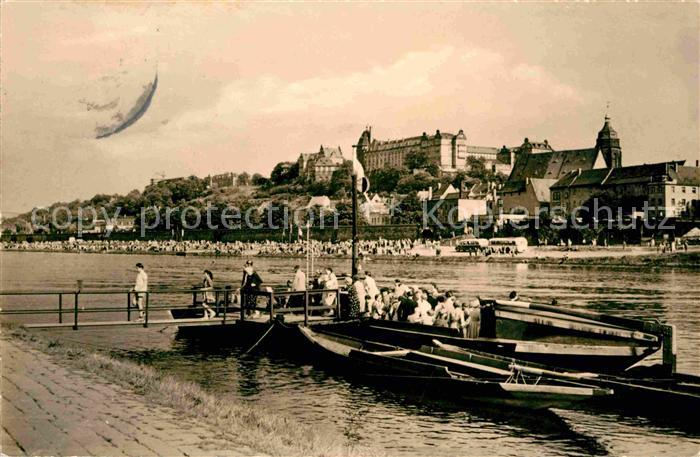 Pirna Partie an der Elbe Bootsanleger Schloss Kat. Pirna