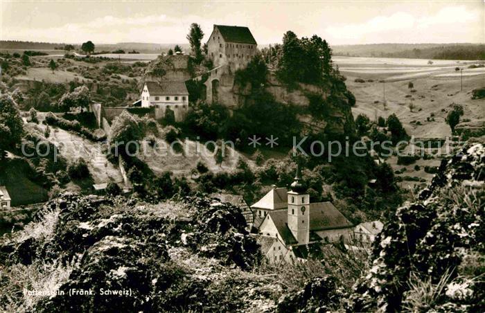 Pottenstein Oberfranken Ansicht mit Kirche und Burg Kat. Pottenstein
