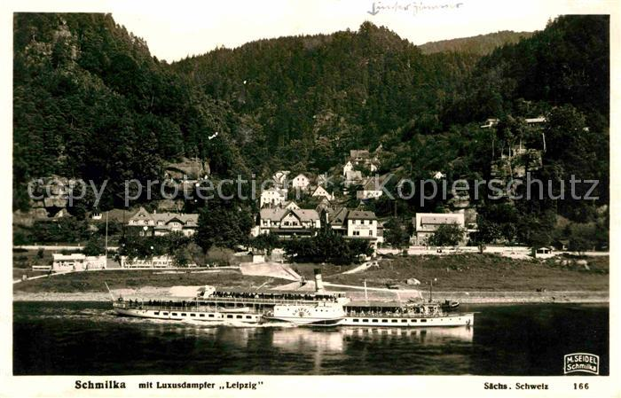 Foto Seidel M. Schmilka Nr. 166 Luxusdampfer Leipzig Schmilka Kat. Bad Schandau