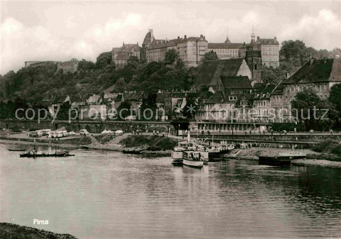 Pirna Partie an der Elbe Blick zum Schloss Kat. Pirna