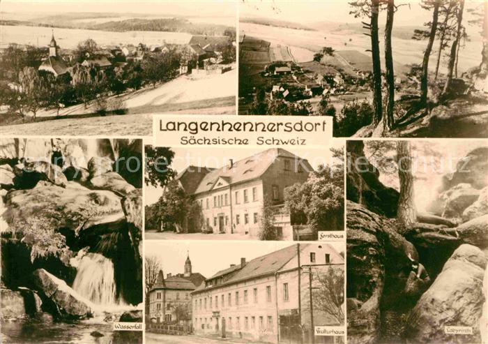 Langenhennersdorf Panorama Wasserfall Kulturhaus Felsen Labyrinth Forsthaus Kat. Bad Gottleuba Berggiesshuebel