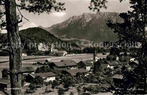 Niederaudorf mit Kloster Reisach und Kaisergebirge Kat. Oberaudorf