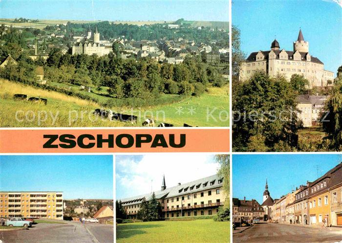 Zschopau Teilansicht Schloss Wildeck Neubaugebiet Warmbad Sanatorium Pawlow Haus Leninplatz Kat. Zschopau