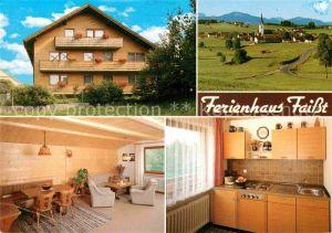 Wald Ostallgaeu Ferienhaus Faisst Ortsansicht mit Blick auf die Alpen Kat. Wald