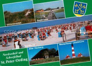 St Peter Ording Duenen Seebruecke Sandbank Strand Alter Haubarg Westerhever Leuchtturm Kat. Sankt Peter Ording
