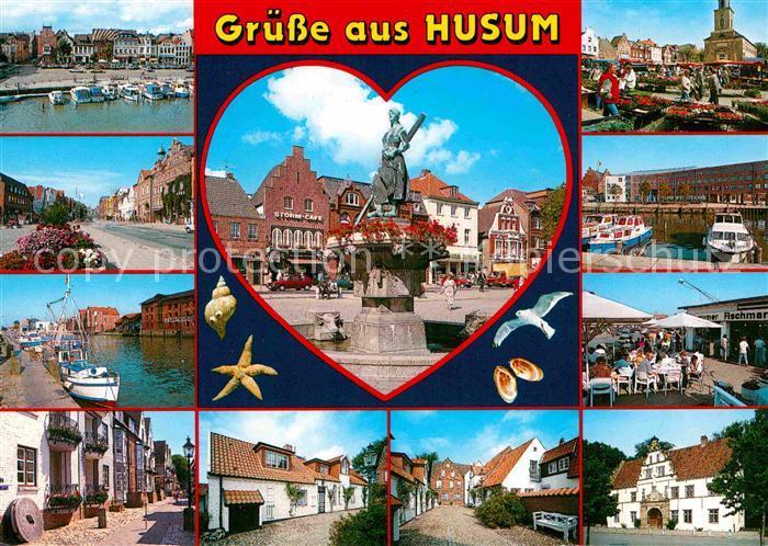 Husum Nordfriesland Orts und Teilansichten Marktplatz Brunnen Kat. Husum