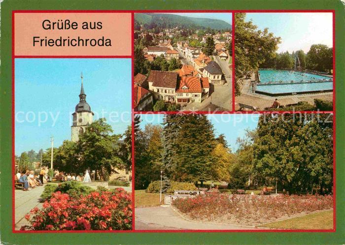 Friedrichroda Zentrum Blick vom Kirchturm Waldbad Platz der Opfer des Faschismus Kat. Friedrichroda