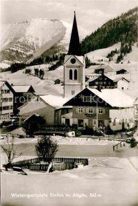 Steibis Dorfplatz mit Kirche  Kat. Oberstaufen