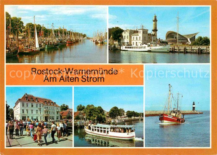 Rostock Warnemuende Am Alten Strom Konsum Gaststaette Teepott FDGB Erholungsheim Am Alten Strom Fahrgastschiff der Weissen Flotte Fischkutter an der Mole Kat. Rostock