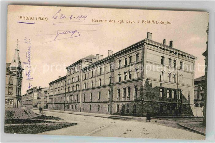 Landau Pfalz Kaserne Kgl. bayr. 5. Feld Artillerie Regiment Kat. Landau in der Pfalz