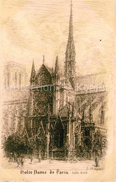 Paris Eglise Notre Dame Dessin Kuenstlerkarte Kat Paris Nr Kv73303