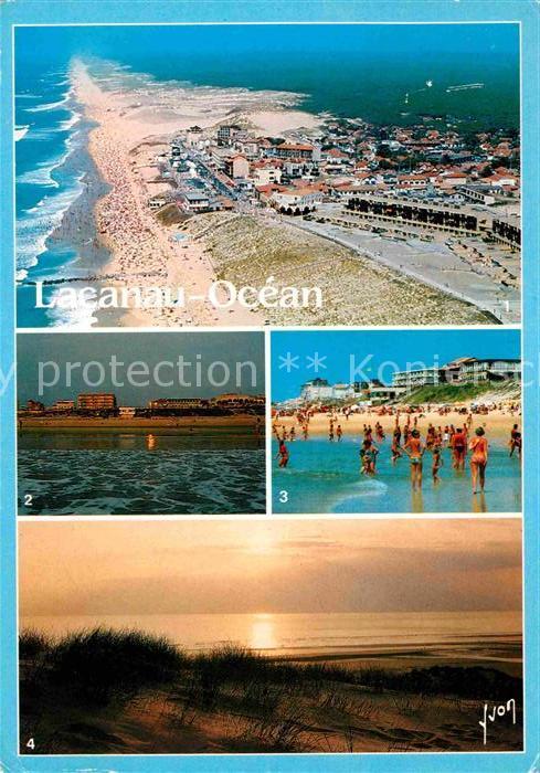 Lacanau Vue generale La plage Coucher de soleil Kat. Lacanau