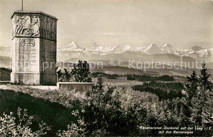 Affoltern Emmental Kavalleristen Denkmal auf der Lueg Berner Alpen Kat. Affoltern Emmental
