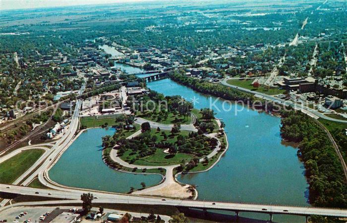 Janesville Wisconsin Memorial Bridge Veterans Memorial Traxler Park aerial view Kat. Janesville