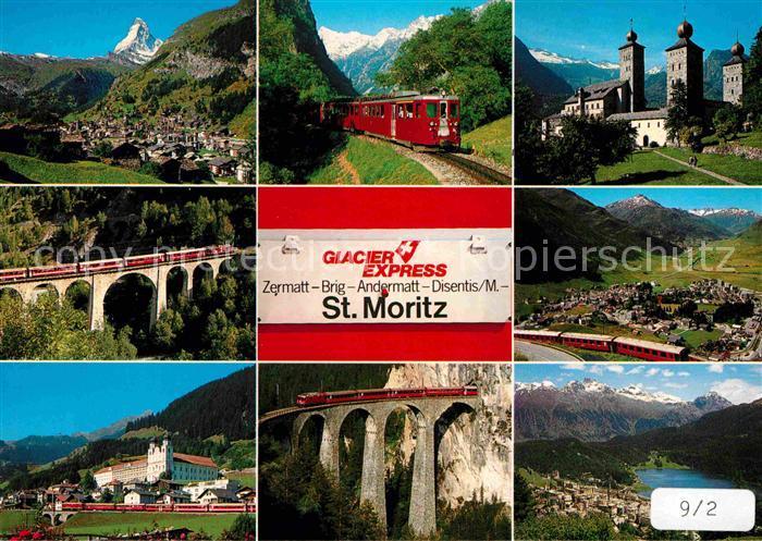 Eisenbahn Glacier Express Zermatt Mattertal Brig Andermatt Disentis  Kat. Eisenbahn
