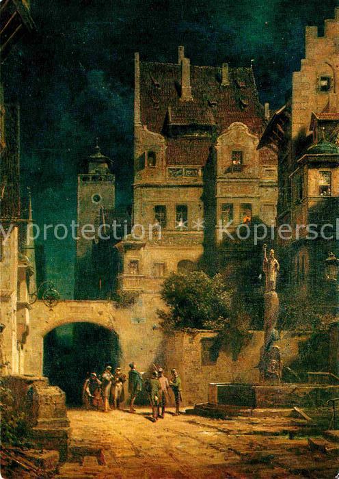 Spitzweg Carl Staendchen im Mondschein Wiechmann Verlag Nr. 2497 Kat. Kuenstlerkarte