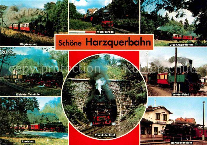 Lokomotive Harzquerbahn Thumkulenkopf Eisfelder Talmuehle Maegdesprung Kat. Eisenbahn