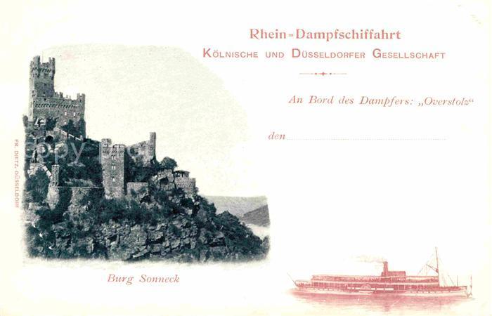Dampfer Seitenrad Overstolz Rhein Dampfschiffahrt Burg Sonneck  Kat. Schiffe