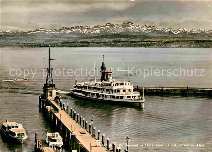 Motorschiffe MS Karlsruhe Kontanz Bodensee Hafeneinfahrt  Kat. Schiffe