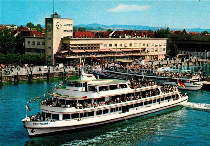 Motorschiffe M.S. Stuttgart Friedrichshafen Bodensee Hafenbahnhof  Kat. Schiffe