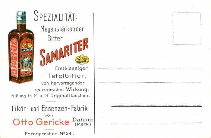 Werbung Reklame Samariter Tafelbitter Likoer  und Essenzen Fabrik Otto Gericke Dahme Kat. Werbung