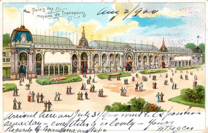 Exposition Universelle Paris 1900 Palais des Moyens de Transports Litho Kat. Expositions