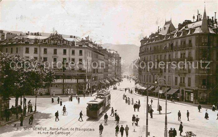Strassenbahn Geneve Rond Point de Plainpalais Rue de Carouge  Kat. Strassenbahn