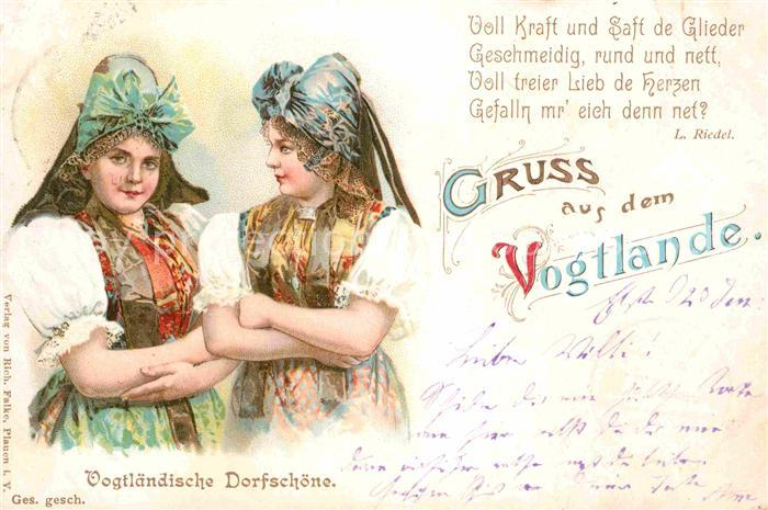 Trachten Vogtland Gedicht L. Riedel Litho  Kat. Trachten