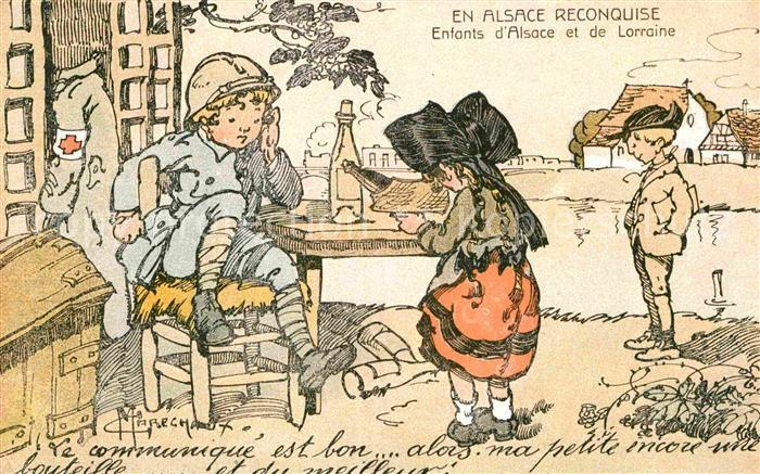 Trachten Alsace Enfants d Alsace et de Lorraine Kuenstlerkarte C.  Marechaux Kat. Trachten