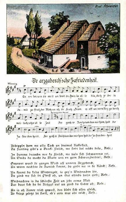 Liederkarte Da arzgaberch sche Zafriedenheit Kuenstlerkarte Rud. Schneider  Kat. Musik