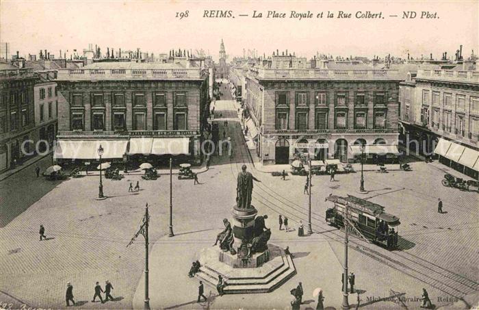 Strassenbahn Reims Place Royale Rue Colbert  Kat. Strassenbahn
