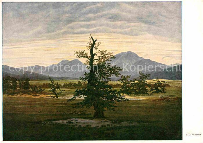 Kuenstlerkarte C.D. Friedrich Der einsame Baum  Kat. Kuenstlerkarte