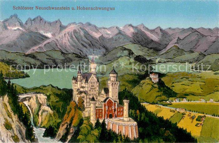 Hohenschwangau Schloesser Neuschwanstein und Hohenschwangau Kat. Schwangau