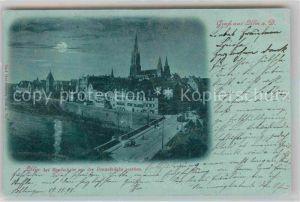 Ulm Donau Panorama Blick von Donaubruecke Mondschein Kat. Ulm