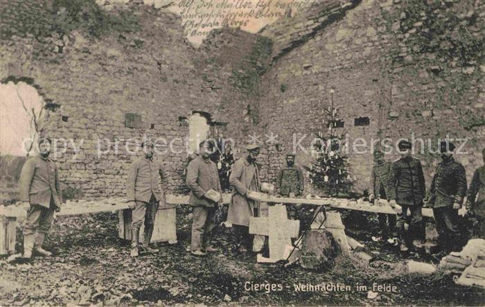 Cierges Aisne Soldaten zu Weihnachten im Felde Kat. Cierges