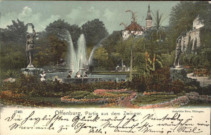 Offenburg Partie aus dem Zwinger Brunnen Park Skulptur / Offenburg /Ortenaukreis LKR
