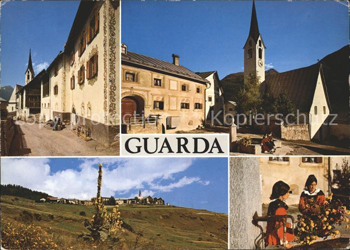 AK / Ansichtskarte Guarda Inn Dorfpartie Kirche Engadinerinnen Kat. Guarda