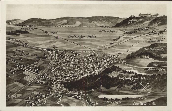 AK / Ansichtskarte Leutkirch Panorama aus der Vogelperspektive Leutkircher Heide mit Schloss Zeil Kat. Leutkirch im Allgaeu