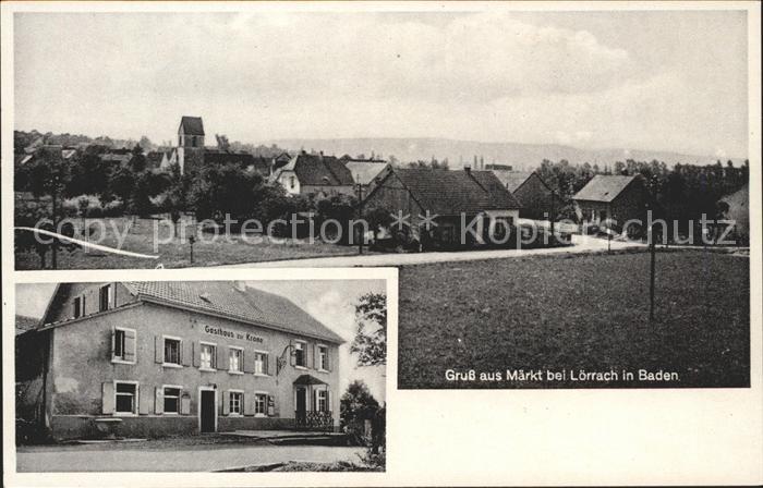 AK / Ansichtskarte Maerkt Ortsansicht mit Kirche Gasthaus zur Krone / Weil am Rhein /Loerrach LKR