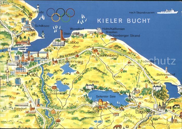 Kieler Bucht Karte.Ak Ansichtskarte Kiel Karte Der Kieler Bucht Kat Kiel